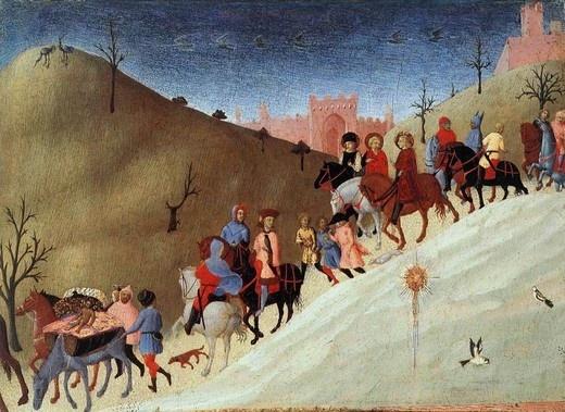 1432년경~1436년경 일 사세타의 작품  동방박사의 여행, 동방박사의 경배가 그려진 그림의 일부조각 이다. 하늘의 밤을 그린듯한 어두운 색채와 여행자와 같은 방향으로 날아가는 새들은 길고긴 여행길의 고단함과 시간을 말해주는듯하다.