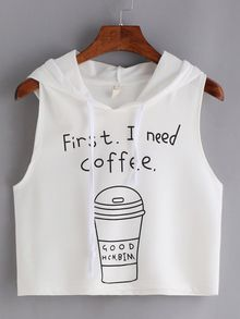 Coffee Print Hooded Crop Tank Top - White