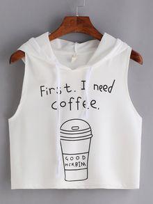 Coffee Print Hooded Crop Tank Top - White