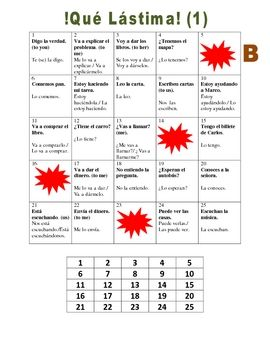 Spanish  Speaking Activity: Dir. and Indir. Obj. Pronouns
