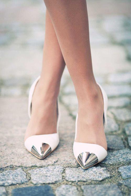 Silver Caps: White Pumps, White Shoes, Fashion Shoes, Wedding Shoes, Silver Shoes, Girls Fashion, White Heels, High Heels, Toe Shoes