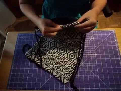 Tutorial sencillo de mochila de cuerdas con costura francesa - YouTube