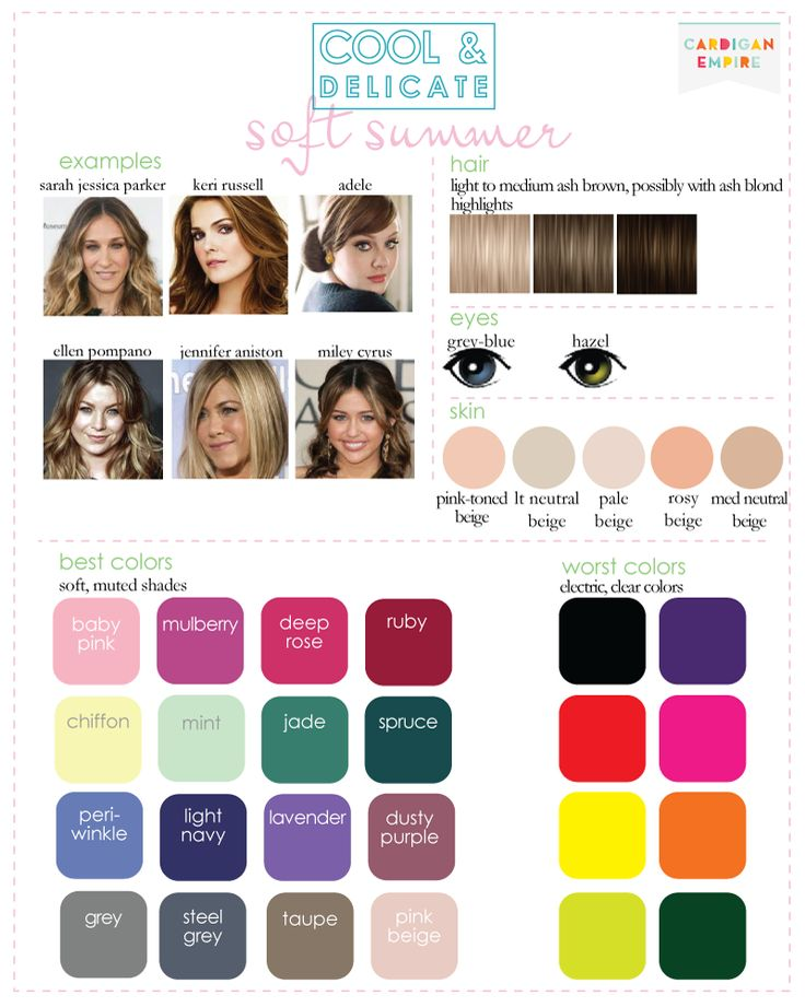My natural hair color, when not lightened by either the sun or highlights, is a dark ash blonde. Because so many of the colors in this palette are the same as those in light summer, I think I can confidently pull colors from here as well.