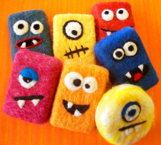 Felted soap monsters; reuse pouches after soap is gone