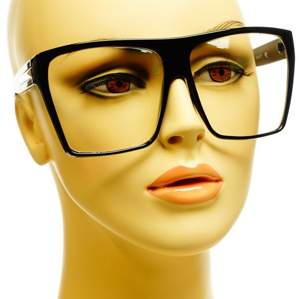 large retro vintage style nerd geek square flat top clear glasses frames black