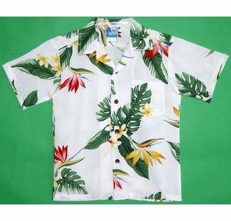 Bird Of Paradise<br>Boy's Hawaiian Shirt<br>Matching chest pocket<br>100% Rayon<br>