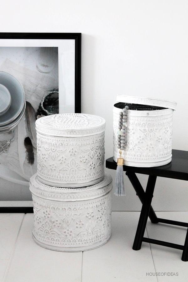 Metaldose mit Deckel geprägtes Muster rund Gr. L - HOUSE of IDEAS Orientalische Dekorationsartikel und Bunzlauer Keramik