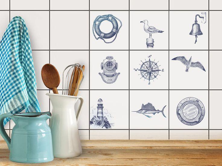 Hochwertige Fliesenaufkleber Set mit Design Maritim | creatisto