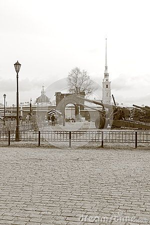 View the Museum's courtyard towards the main gate and the Peter and Paul fortress. The Military-historical Museum of Artillery, engineer and signal corps. St. Petersburg, Russia
