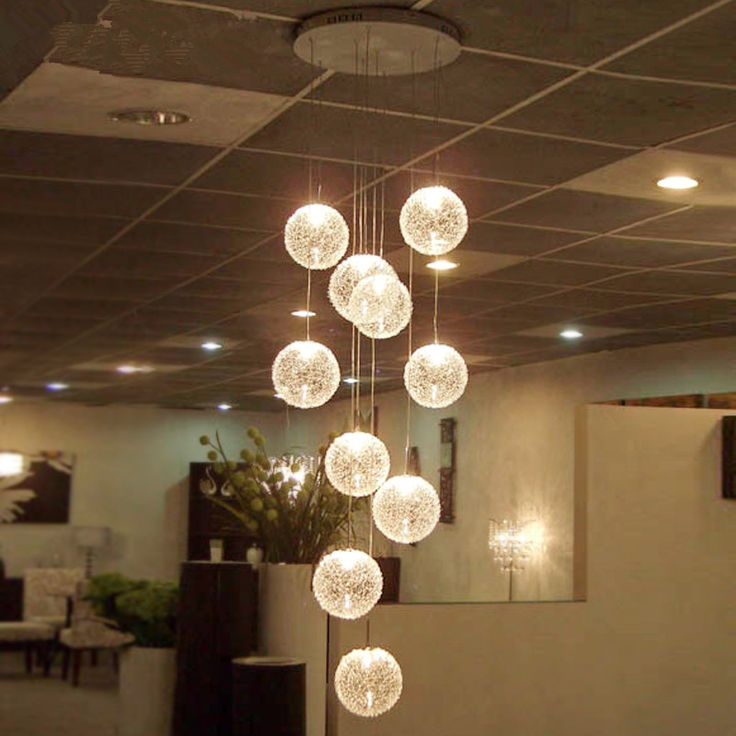 Find More Chandeliers Information About Modern Led Chandelier Round Glass Globle Long Stair Lighting E27 10 Lights Hanging Lamp Living Room Light Fixture