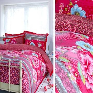 Pip Studio sängkläder - Chinoise, röd, Påslakan och örngott, enkelsäng