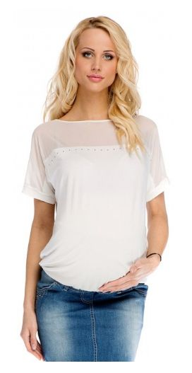 Maternity White Blouse With Mesh and Rhinestuds