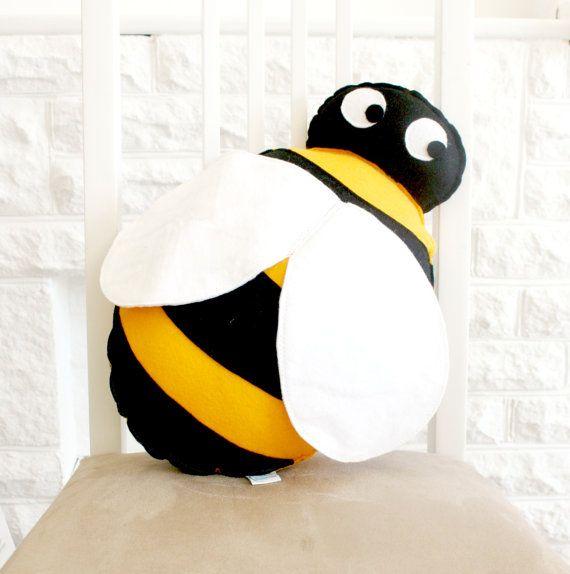 Bee cushion, bumblebee, kids cushion, handmade felt cushion, throw cushion, kids room decor