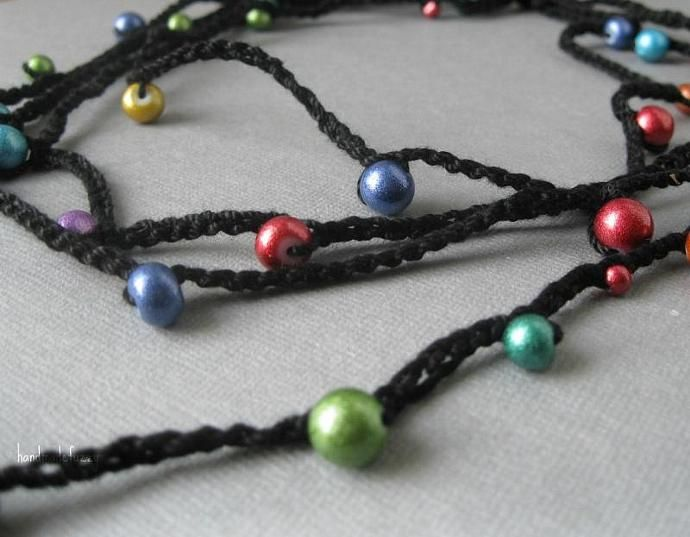 color explosion crochet necklace by handmadefuzzy, $12.00 USD