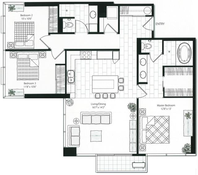 Capitol place at 1200 queen emma hawaii luxury condo for Luxury condominium floor plans