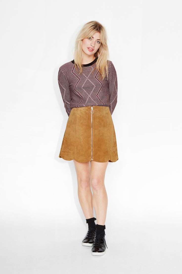 Monki Image 2 of Sonnie suede skirt in Orange Yellowish Dark