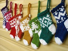 Free knitting pattern for mini Christmas stockings and more holiday decoration knitting patterns