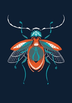 Beetle print. Great color palette!