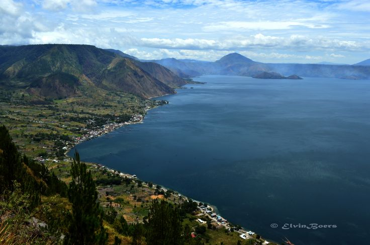 Toba Lake, North Sumatra. Top view of Silalahi