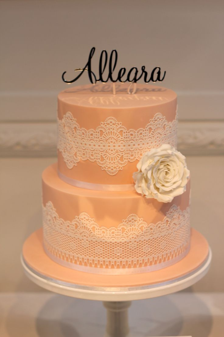Peach themed Christening cake