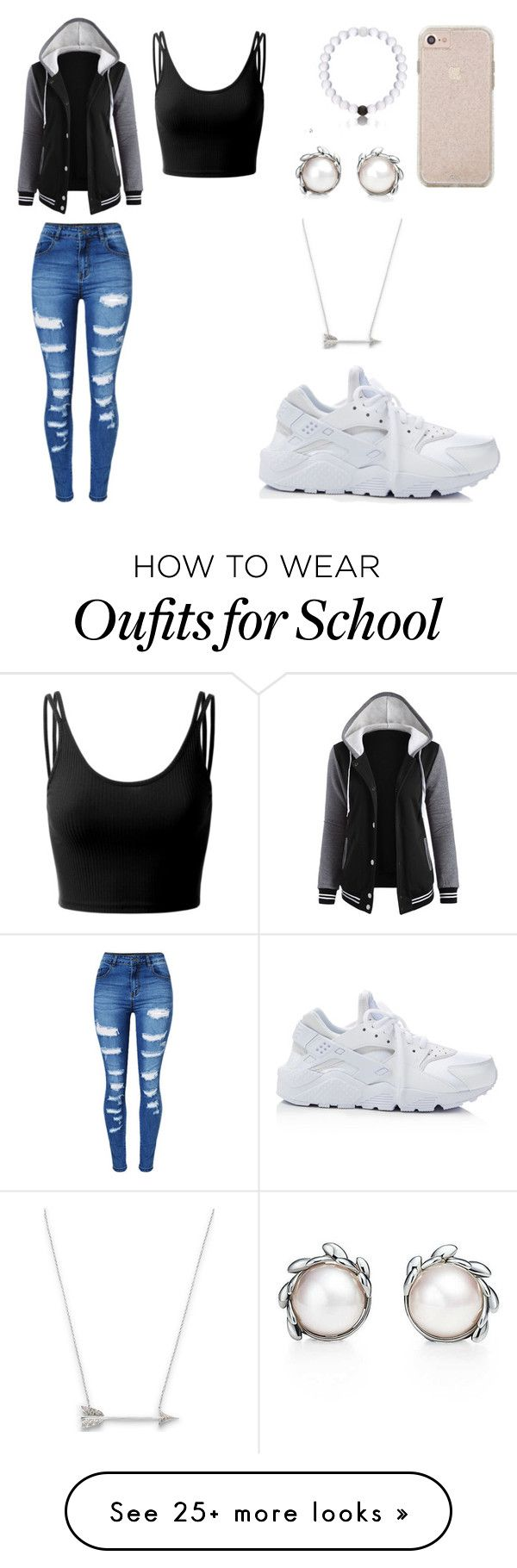 """""""HIGH SCHOOL STYLE"""" by mgarcia-iii on Polyvore featuring Tiffany & Co., Estella Bartlett, Doublju, WithChic and NIKE"""