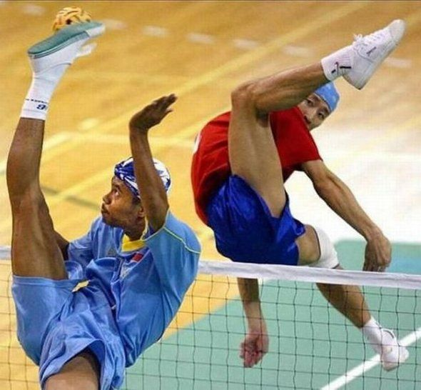 New sport called, Sepaktakraw, or Kick Volleyball. Requirements: Contortionist and Kung Fu.