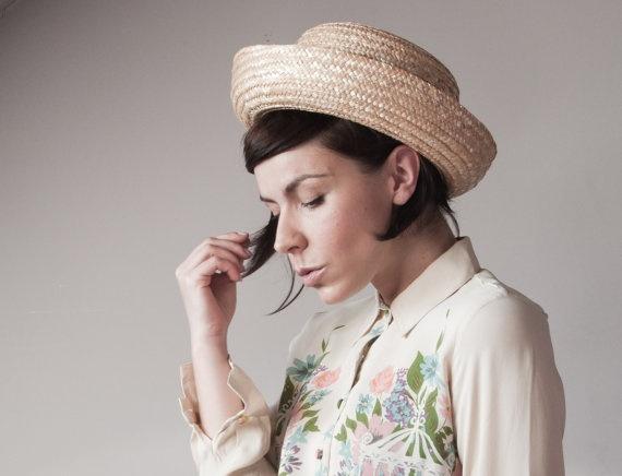 Upturned Straw Riviera Vintage Bowler Hat, $32