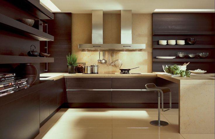 Коричневая кухня: оформление интерьера в шоколадных оттенках и 85 теплых и уютных воплощений http://happymodern.ru/korichnevaya-kuxnya-foto/ Коричневая кухня и лампы с теплым освещением помогут создать атмосферу домашнего уюта