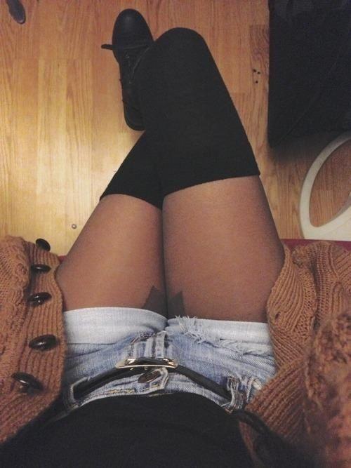 Thigh high socks, tights, shorts, cardigan