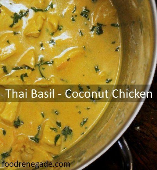 So delicious and Simple Thai Basil & Coconut Chicken, via www.foodrenegade.com