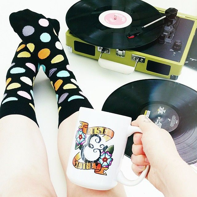The soundtrack to #Friday begins with #Bigdot! (Photo via @honeyandthehive) #HappinessEverywhere #HappySocks