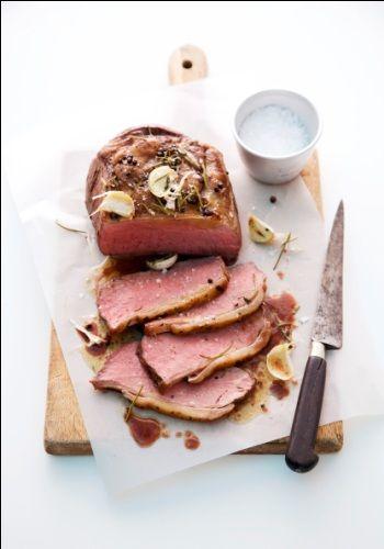 Serviervorschlag für Roastbeef rosa gebraten