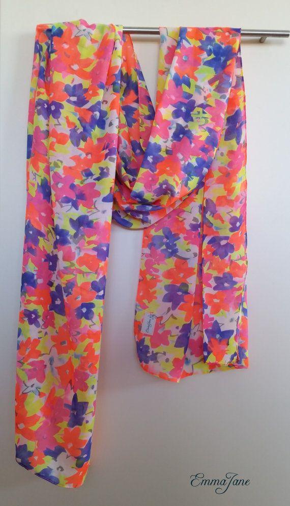 Summer scarf     www.etsy.com/listing/208210250/summer-scarf-floral-bright