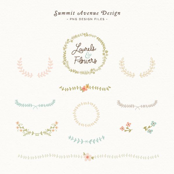 Laurel and Flowers design elements - for personal or photography use https://www.etsy.com/listing/121321742/laurel-and-flowers-design-elements-for#