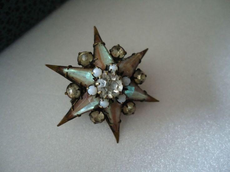 Antique Austro-Hungarian Era Saphiret Glass Six-poited Star Brooch 1867-1918