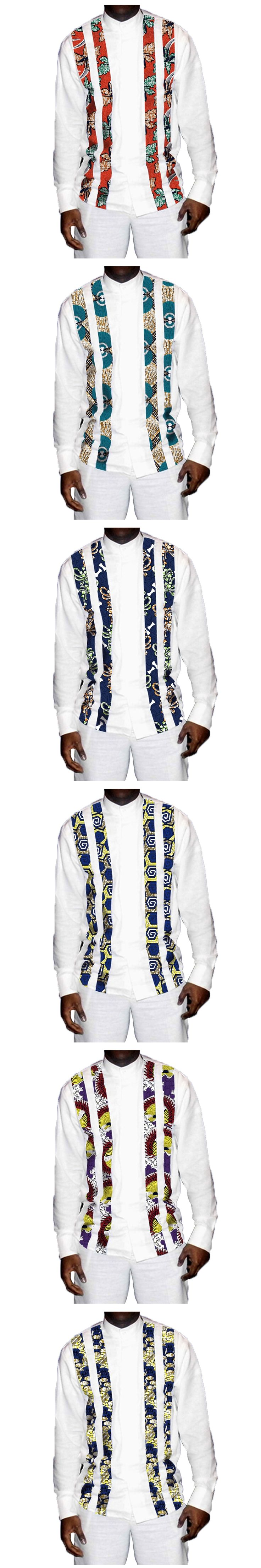 Handsome Men's African Shirts Africa Festive Pattern Long Sleeve Shirts Men Fashion African Clothes For Men