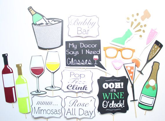 18pc * Bubbly Bar Photobooth Props/Wine Party Props/ Pop Fizz Clink Photobooth Props, Rose All Day