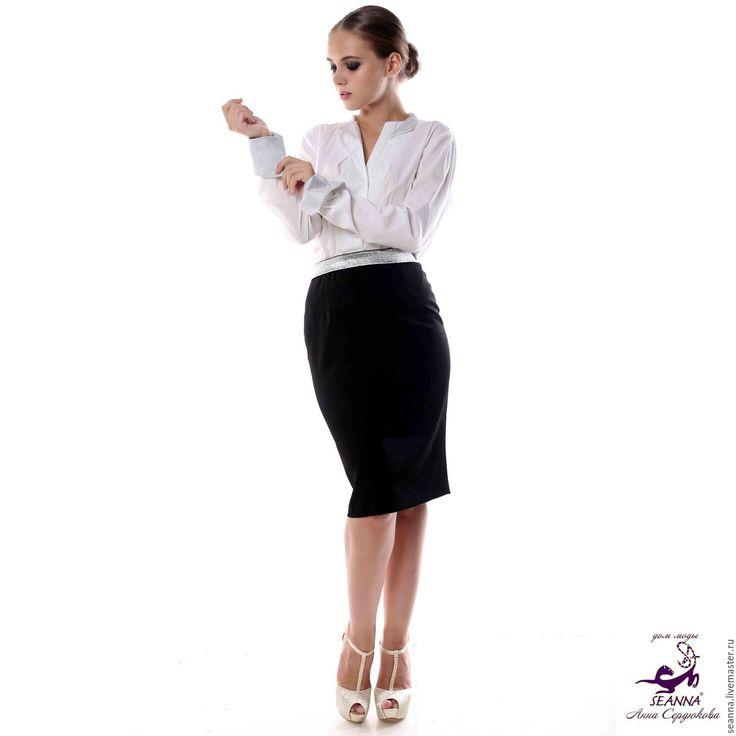 """Купить Юбка карандаш """"Must have"""" на широкой серебряной резинке из стрейч - юбка, юбка черная"""