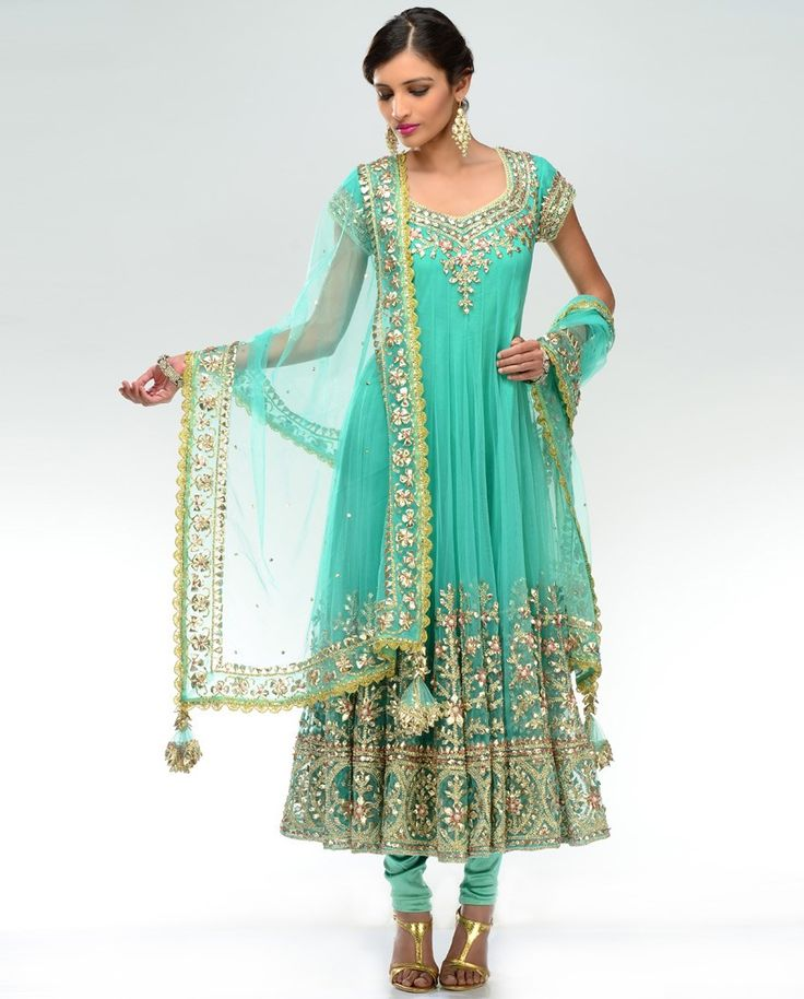 Turquoise Mint Gota Embroidered Kalidar Suit  by Preeti S. Kapoor
