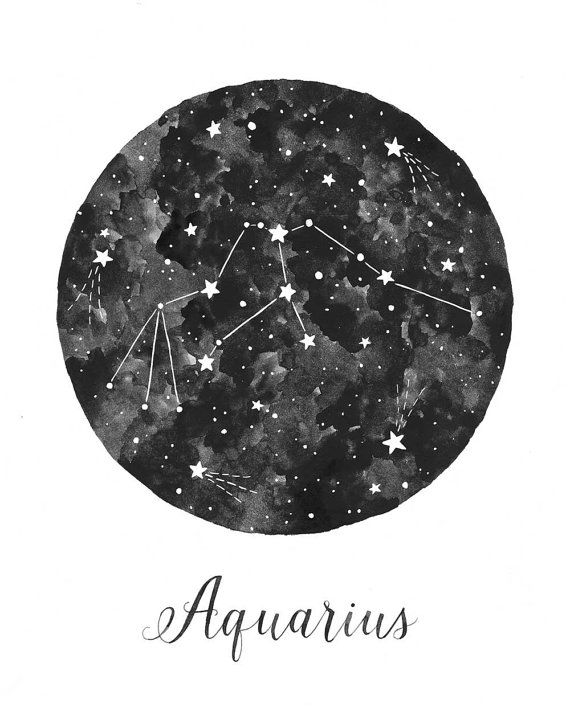 Aquarius Constellation Illustration  Vertical by fercute on Etsy                                                                                                                                                                                 Mais