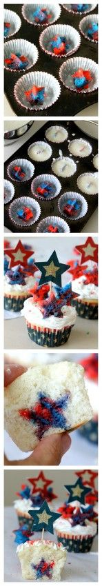 Patriotic Cupcakes with a surprise inside from MomDot: Cakes Mixed, Stars Cupcake, Inside Cupcake, Patriotic Cupcakes, Cupcake July, Cupcake Recipe, Cakes Cupcakes Recipes Ideas, Cupcake Cakes, Star Cupcakes