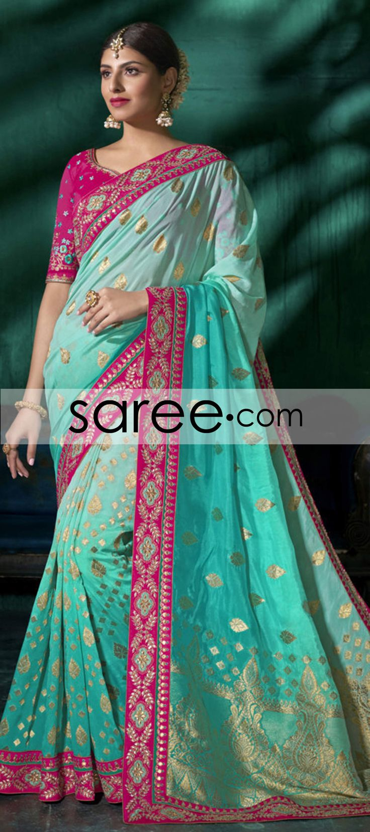 Sea Green and Green Ombre Viscose Saree With Weaving
