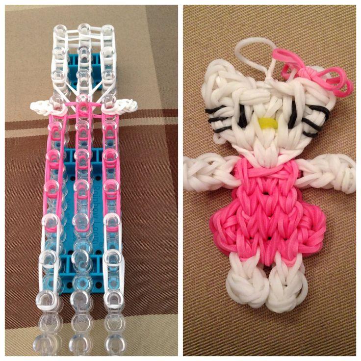 Hello Kitty Rainbow Loom charm, that I made, following the single loom tutorial by PG's Loomacy