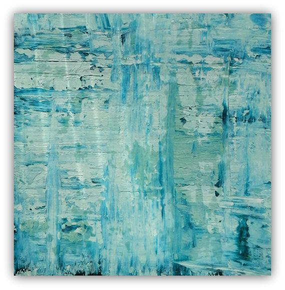 Limited edition signed canvas giclee of abstract painting.  Colors: mint green, teal.