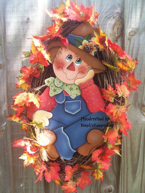 Wooden Scarecrow Wall Hanging Fall Autumn Home by stephskeepsakes, $46.99