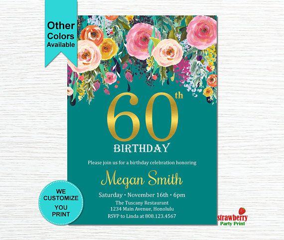 60th Birthday Invitations for Women. Surprise 60th Birthday Invitation. Cheers To 60 Years. Floral Birthday Invitation. Gold Foil. A15
