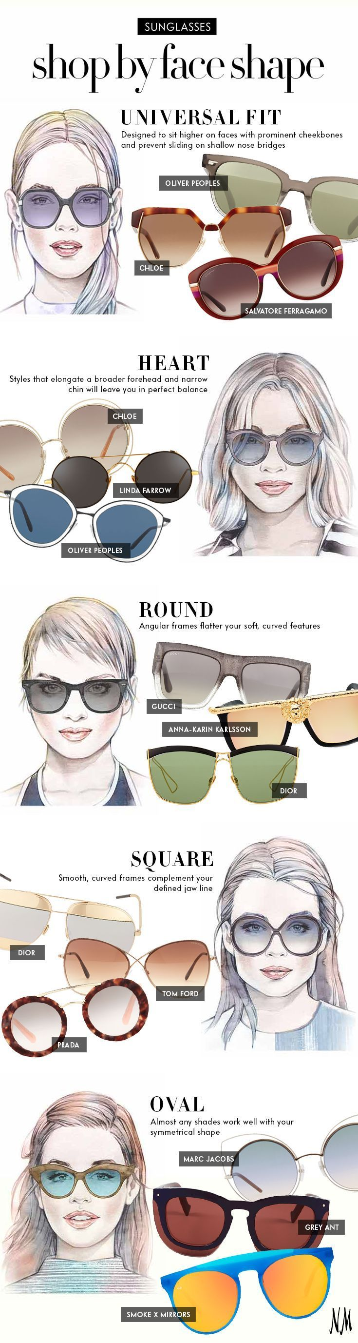 Oliver Peoples, Dior, Tom Ford,  Prada for your face shape