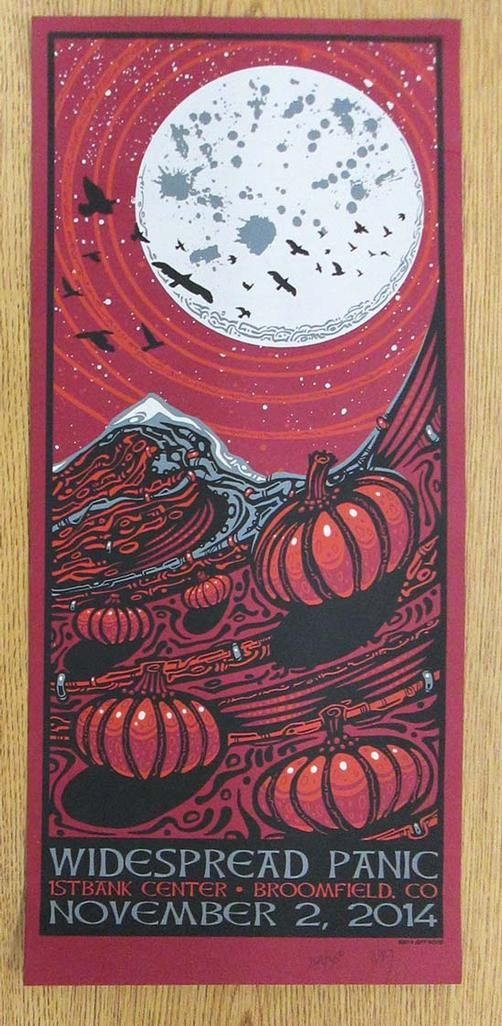 Original silkscreen concert poster for Widespread Panic at The First Bank Center in Broomfield, CO in 2014. Signed and numbered 264/350 by the artist Jeff Wood.