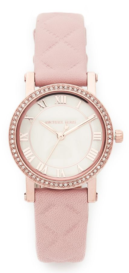 Michael Kors Petite Norie Leather Watch #michaelkors #watchmichaelkors #watches