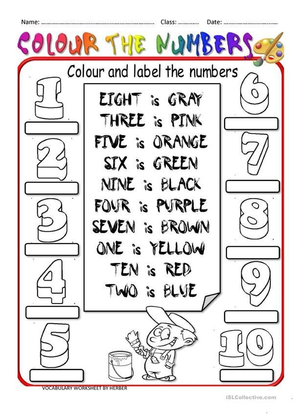 Colour The Numbers English Worksheets For Kids Vocabulary Worksheets Printable English Worksheets Numbers worksheets for kindergarten esl